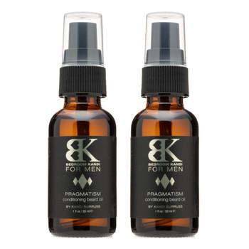An image of two bottles of BK for Men Pragmatism Beard Oil.