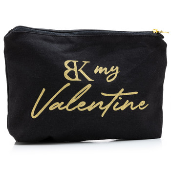 "An image of the black BK my Valentine intimacy bag on a white background. The words ""BK my Valentine"" are written in gold lettering."