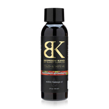 A black 2oz bottle of Bedroom Kandi's Touch and Taste Me edible massage oil in succulent strawberry on a white background