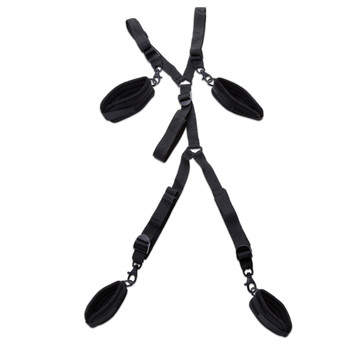 An image of the Fit to Be Tied under-bed restraints with four removable soft cuffs and lengths of adjustable black straps.