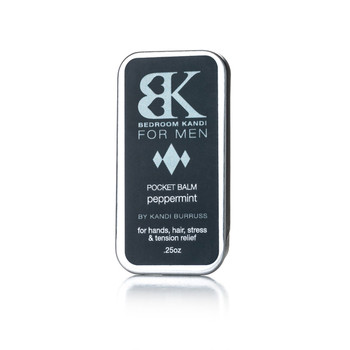 An image of a small upright tin of BK for Men's peppermint flavored balm for hands, hair, lips, and tension relief.