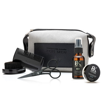An image of the bag, brush, comb, scissors, beard oil, and fragrance balm in the BK for Men Grooming Essentials gift set all on a white background.
