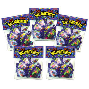 An image of 5 packs of Halloweenies penis-shaped candies in their packaging.