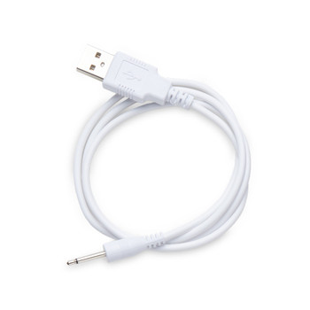 An image of a coiled white USB charging cable on a white background for the We-Vibe Unite Special Edition.