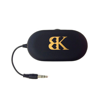 An image of a black transmitter device with the BK logo on it and a short cable with a connecting jack.