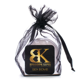 An image of our SEX BOMB sensual bath bomb in a black organza bag.