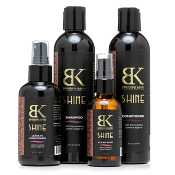 An image of Bedroom Kandi's Shine hair care collection, including the shampoo, conditioner, styling elixir, and leave-in conditioner