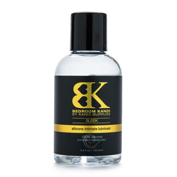 An image of Bedroom Kandi's Sleek silicone-lubricant in a clear bottle with a black cap.