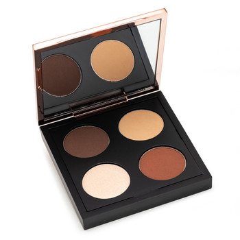 An open black square eye shadow compact with a rose gold lid containing a mirror, and four rounds of eyeshadow. The image depicts the Throwing Shades Exposed palette.