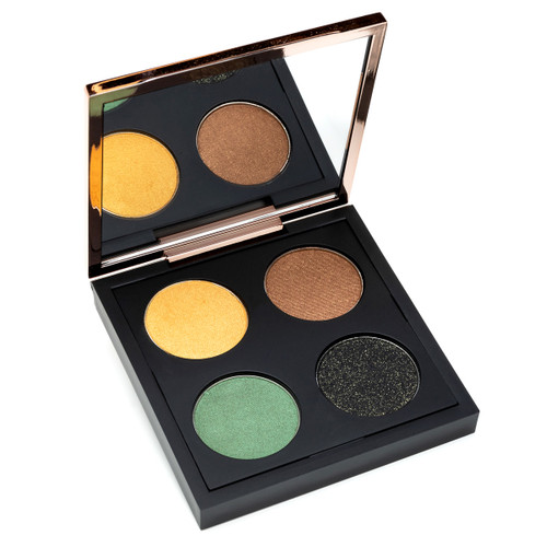 An open black square eye shadow compact with a rose gold lid containing a mirror, and four rounds of eyeshadow. The image depicts the Throwing Shades Safari palette.