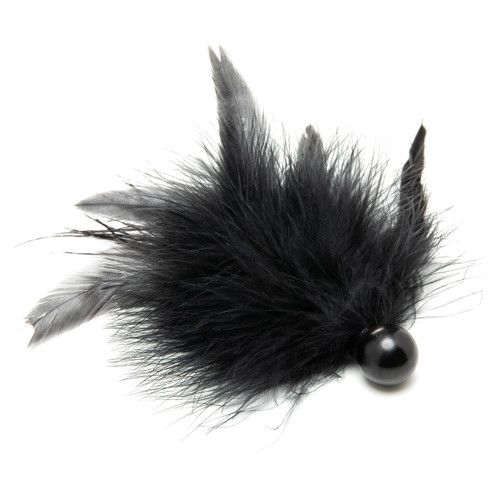 An image of the Touched By Desire feather tickler on a white background. The tickler is made of a soft cluster of feathers attached to a small spherical black handle.