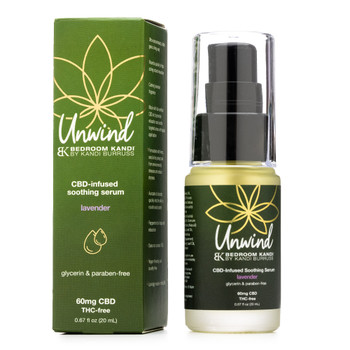 A small pump-cap bottle of Unwind Soothing Serum next to the box it comes in, both with the green and gold Unwind brand theme.